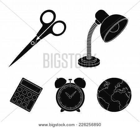 Table Lamp, Scissors, Alarm Clock, Calculator. School And Education Set Collection Icons In Black St