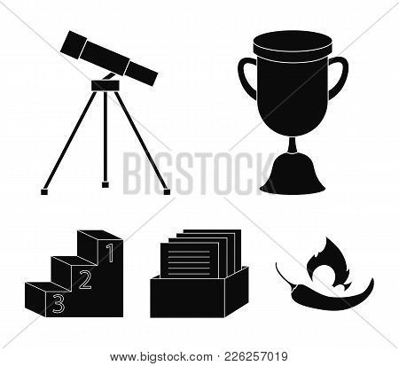 Cup, Prize, Telescope, Catalog In A Box And Pedestal Of Honor. School Set Collection Icons In Black