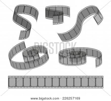 Vector Set Of Filmstrip Rolls. Collection Of Realistic Movie And Cinema Elements Or Objects Isolated