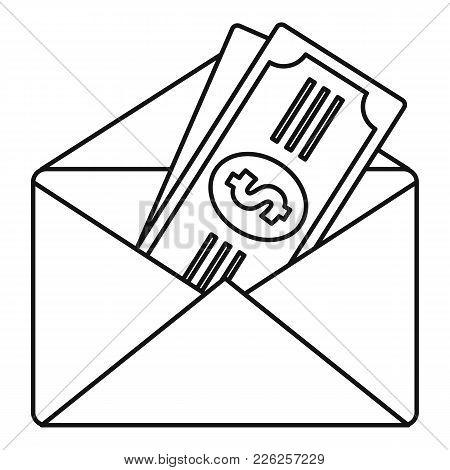Money In Envelope Icon. Outline Illustration Of Money In Envelope Vector Icon For Web