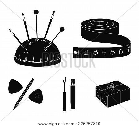 Measuring Tape, Needles, Crayons And Pencil.sewing Or Tailoring Tools Set Collection Icons In Black