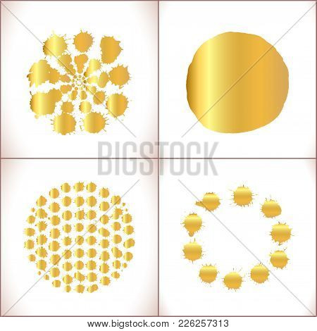 Paint Vector Splashes Set. Vector Gold Paint Stain Set