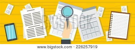 Look At Tax Banner. Flat Illustration Of Look At Tax Vector Banner For Web