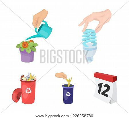 Energy-saving Light Bulb, Watering A Houseplant And Other  Icon In Cartoon Style. Garbage Can With W
