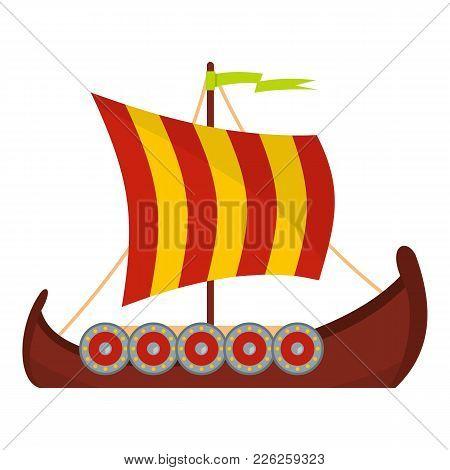 Scandinavian Ship Icon. Flat Illustration Of Scandinavian Ship Vector Icon For Web