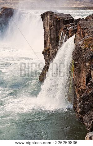 Spectacular View Of Godafoss Waterfall Near Akureyri, Iceland