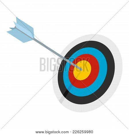 Striped Target Icon. Flat Illustration Of Striped Target Vector Icon For Web
