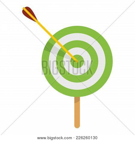 Sport Target Icon. Flat Illustration Of Sport Target Vector Icon For Web