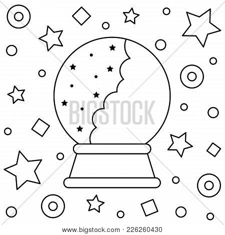 Crystal Ball. Coloring Page. Vector Illustration Of Crystal Ball.