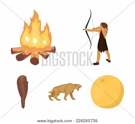 Man, Hunter, Onion, Bonfire .stone Age Set Collection Icons In Cartoon Style Vector Symbol Stock Ill