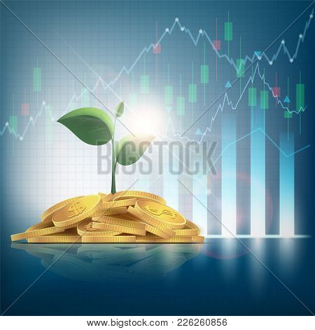 Pile Of Gold Coins With Green Plants. Financial Graphs And Charts. Make Money On The Stock Exchange.