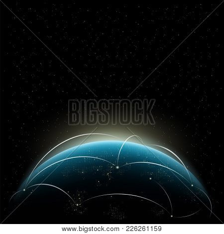 Global Network Over The World. Planet Earth And Sunrise. Stock Vector Illustration.