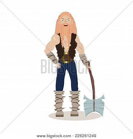 Viking Cartoon Character. A Muscular, Long-haired Berserker  Holds A Axe In His Hands. Vector Illust