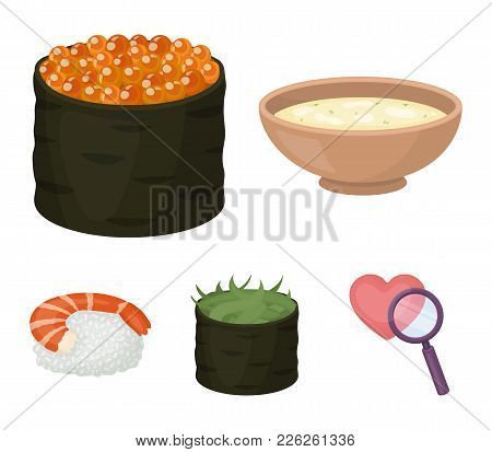 Bowl Of Soup, Caviar, Shrimp With Rice. Sushi Set Collection Icons In Cartoon Style Vector Symbol St