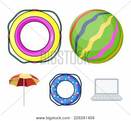 Multicolored Swimming Circle Cartoon Icons In Set Collection For Design. Different Lifebuoys Vector