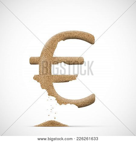 Euro Currency Symbol Consists Of Sand. Brexit And The Financial Exchange. Stock Vector Illustration.