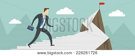 Man Career Banner. Flat Illustration Of Man Career Vector Banner For Web