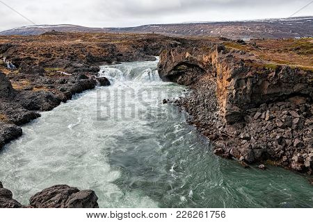 Panoramic View Of The Amazing Godafoss Waterfall Near Akureyri, Iceland