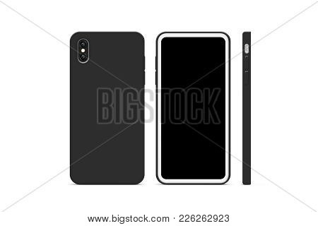 Blank Black Phone Case Mock Up, Stand Isolated, 3d Rendering. Empty Smartphone Cover Mockup Ready Fo