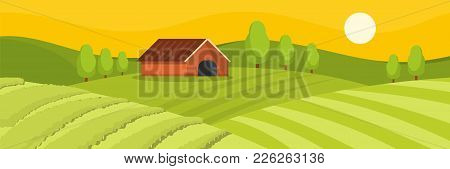 Field And House Banner. Flat Illustration Of Field And House Vector Banner For Web