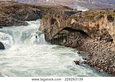 View Of Godafoss Waterfall Near Akureyri, Iceland