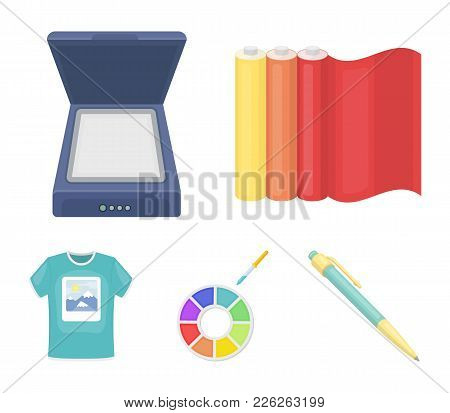 Scanner, Color Palette And Other Equipment. Typography Set Collection Icons In Cartoon Style Vector