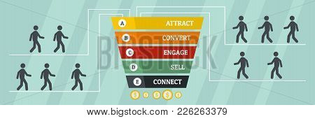 Business Funnel Banner. Flat Illustration Of Business Funnel Vector Banner For Web