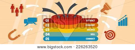 Funnel Of Target Banner. Flat Illustration Of Funnel Of Target Vector Banner For Web