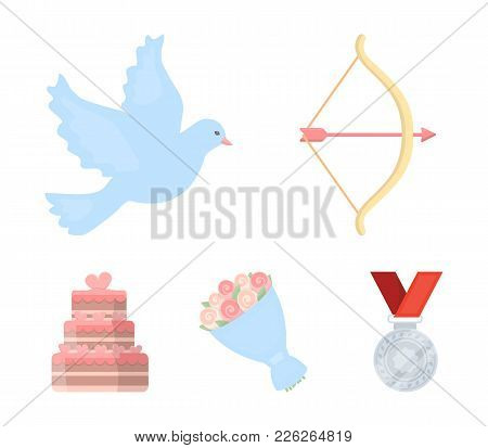 Arrow Cupid, Dove, Bouquet Of Flowers, Wedding Cake. Wedding Set Collection Icons In Cartoon Style V