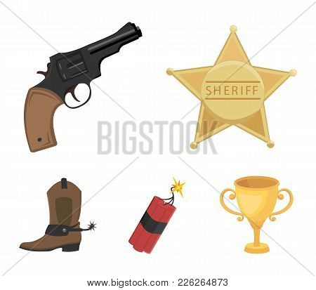 Star Sheriff, Colt, Dynamite, Cowboy Boot. Wild West Set Collection Icons In Cartoon Style Vector Sy