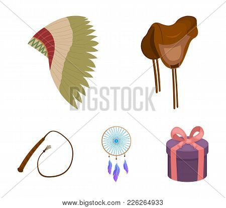 Saddle, Indian Mohawk, Whip, Dream Catcher.wild West Set Collection Icons In Cartoon Style Vector Sy