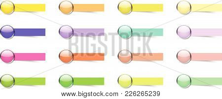 Vector Illustration Ready-to-use 16 Colorful Glossy Buttons With Blank Sticky Notes. Useful For Gene