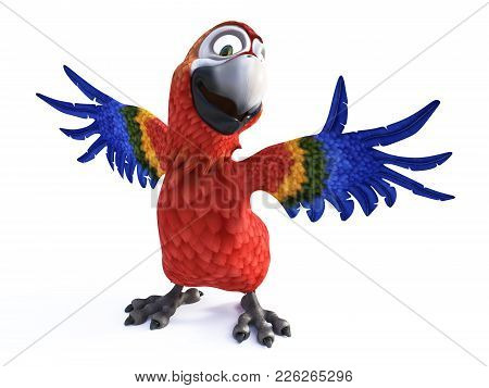 3d Rendering Of Cartoon Parrot Holding Out Its Wings, Smiling And Looking Very Happy. White Backgrou