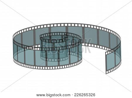 Vector Illustration Of Filmstrip Roll. Cinema And Movie Element Or Object Isolated On The White Back