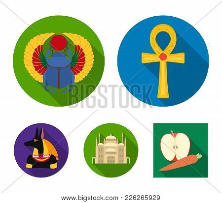 Anubis, Ankh, Cairo Citadel, Egyptian Beetle.ancient Egypt Set Collection Icons In Flat Style Vector
