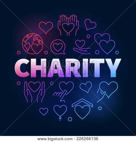 Charity And Donation Vector Colorful And Bright Circular Illustration In Outline Style On Dark Backg