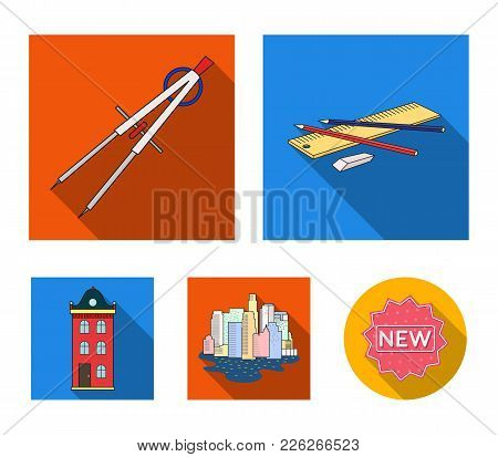 Drawing Accessories, Metropolis, House Model. Architecture Set Collection Icons In Flat Style Vector