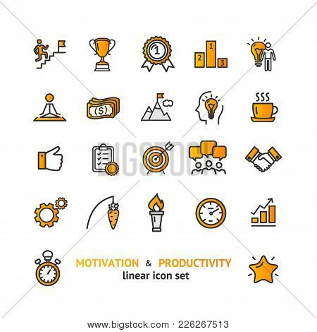Motivation And Productivity Signs Color Thin Line Icon Set Include Of Schedule, Clock, Strategy, Che