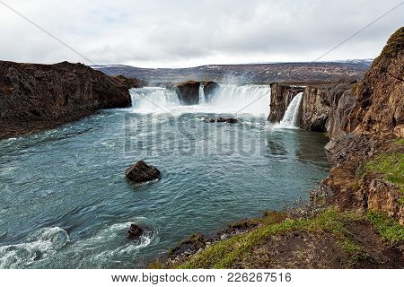 Panoramic View Of The Godafoss Waterfall Near Akureyri, Iceland
