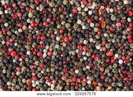 Mixed Of Five Diffrent Kind Peppercorns.  Background