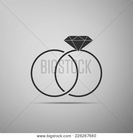 Wedding Rings Icon Isolated On Grey Background. Bride And Groom Jewelery Sign. Marriage Icon. Diamon