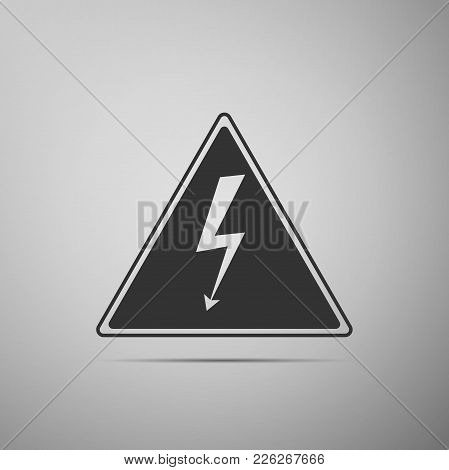 High Voltage Sign Icon Isolated On Grey Background. Danger Symbol. Arrow In Triangle. Warning Icon.