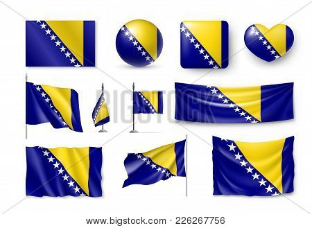Set Bosnia And Herzegovina Flags, Banners, Banners, Symbols, Flat Icon. Vector Illustration Of Colle