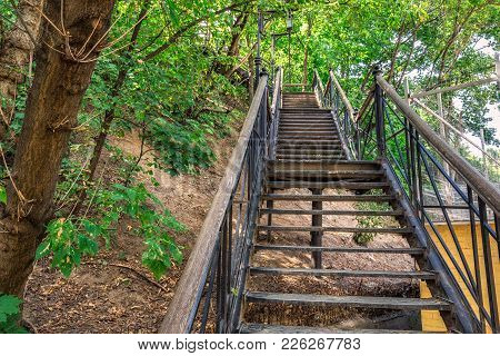 Metal Stairs At Andriyivskyy Descent Kiev, Ukraine.