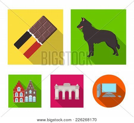 Chocolate, Cathedral And Other Symbols Of The Country.belgium Set Collection Icons In Flat Style Vec