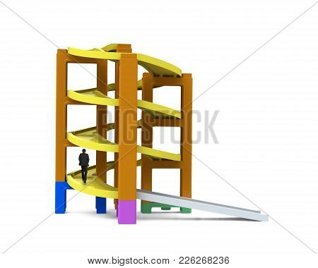 Man Walking On Unfinished Spiral Track In Stacking Blocks