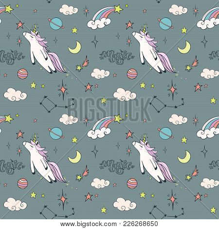Magic Hand Drawn Seamless Pattern With Unicorn In Flight, Rainbows And Stars. Vector Background