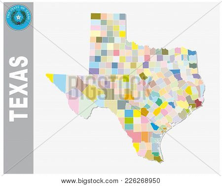 Colored Administrative And Political Vector Map Of Us Federal State Texas With Seal