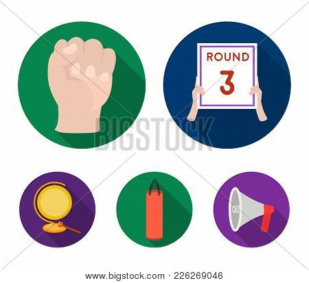 Boxing, Sport, Round, Hand .boxing Set Collection Icons In Flat Style Vector Symbol Stock Illustrati