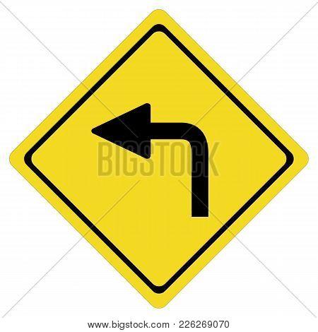 Turn Left On White Background. Turn Left Symbol. Flat Style. Turn Left Sign.